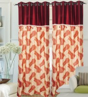 Hargunz Polyester Maroon Door Curtain 214 Cm In Height, Single Curtain