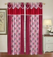HomeTex Polycotton Red Plain Curtain Long Door Curtain 274 Cm In Height, Pack Of 2