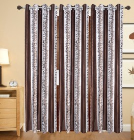 DECO INDIA Polyester Multi - Colour Floral, Printed Eyelet Window Curtain