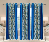 Pendu Art Polyester Printed Skyblue Printed Eyelet Long Door Curtain 274.3 Cm In Height, Pack Of 3