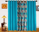 Dekor World Sprial World With Solid Door Curtain - Pack Of 3