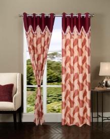 Homesazz Polyester Maroon Self Design Eyelet Window Curtain