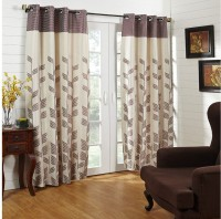 @home Polycotton Black Printed Ring Rod Door Curtain 213.36 Cm In Height, Single Curtain