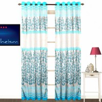 Fabutex Polyester Blue And Gold Floral Eyelet Door Curtain 214 Cm In Height, Pack Of 2