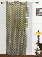 Dekor World Polyester Green Solid Eyelet Door Curtain 215 Cm In Height, Single Curtain