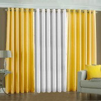 Pindia Polyester Yellow, White Printed Door Curtain 183 Cm In Height, Pack Of 3
