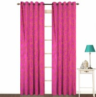 Fabutex Polyester Pink Geometric Eyelet Door Curtain 214 Cm In Height, Pack Of 2