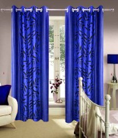 Homefab India Polyester Dark Blue Door Curtain 213.36 Cm In Height, Single Curtain
