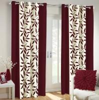 Vaamsi Polyester Brown Printed Eyelet Window & Door Curtain 214 Cm In Height, Single Curtain