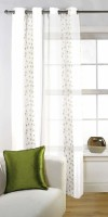 Fabutex Tissue Green Floral Eyelet Door Curtain 213 Cm In Height, Single Curtain