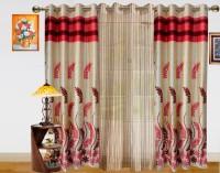 Dekor World Polyester Door Curtain (Pack Of 3, 84 Inch/215 Cm In Height, Maroon, Beige)