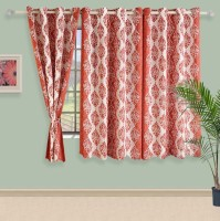 Swayam Satin, Silk Pink, Grey Printed Ring Rod Window Curtain 60 Inch In Height, Single Curtain