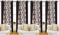 Jojo Designs Polyester Brown Floral Eyelet Long Door Curtain 274 Cm In Height, Pack Of 4