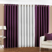 Pindia Polyester Purple, White Door Curtain 183 Cm In Height, Pack Of 3
