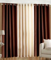 Pendu Art Polyester Brown, Cream Solid Eyelet Window Curtain 152 Cm In Height, Pack Of 3