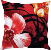 StyBuzz Red Poppy Flower Printed Cushions Cover (40*40, Red)
