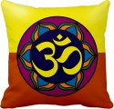 Tiedribbons Red And Yellow Om Cushion Cover - Pack Of 1