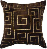 Linens And Drapes Abstract Cushions Cover (Pack Of 3, Brown)