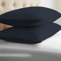 LNT Linen Solid Cushions, Pillows Cover (Pack Of 2, 43.2 Cm*69 Cm, Dark Blue)