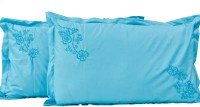 Kalakriti Creations Embroidered Pillows Cover Pack Of 2, 46 Cm*72 Cm, Blue