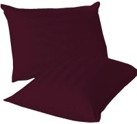 LNT Linen Striped Cushions, Pillows Cover (Pack Of 2, 43.2 Cm*69 Cm, Maroon)