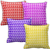 Tiedribbons Set Of Four Small Pan Shape Printed Cushions Cover (Pack Of 4, 40 Cm*40 Cm, Multicolor)