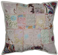 Lal Haveli Home Decorative Khmbadia Patchwork Cotton 24x24 Inches Abstract Cushions Cover (Cushion Cover, 60.96 Cm*60.96 Cm)