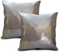 StyBuzz Embroidered Cushions Cover (Pack Of 2, 40.64 Cm*40.64 Cm, Silver)