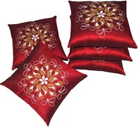 Zikrak Exim Embroidered Cushions Cover (Pack Of 5, 40 Cm*40 Cm, Red)