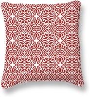 Smart Home Textile Self Design Cushions Cover (Pack Of 5, 40 Cm, Red, White)