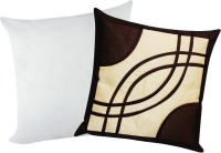 Zikrak Exim Eye Design With Filler Self Design Cushions Cover (Pack Of 2, 40*40, Beige, Brown)