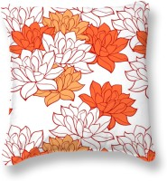 Smart Home Textile Floral Cushions Cover (Pack Of 6, 40 Cm, Orange, White)