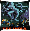 Snoogg See India Shiva 2836 Throw Pillows 16 X 16 Inch Cushions Cover - Pack Of 1