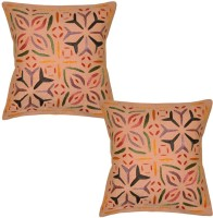 Lal Haveli Ethnic Cut Work With 16x16 Inches Embroidered Cushions Cover (Pack Of 2, 41 Cm*41 Cm, Peach)