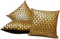 ZIKRAK EXIM Golden Leather Bricks Cushions Cover - Pack Of 3