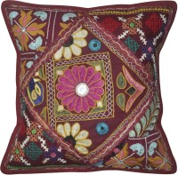 Lal Haveli Beautiful Flower Design Embroidery Work Embroidered Cushions Cover (Cushion Cover, 41 Cm*41 Cm)