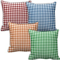 Tiedribbons Set Of Four Small Square Shape Printed Cushions Cover (Pack Of 4, 40 Cm*40 Cm, Multicolor)