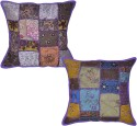 Lal Haveli Handmade Patchwork Embroidered Cushions Cover - Pack Of 2 - CPCDY9S4ZWF4Z9PP