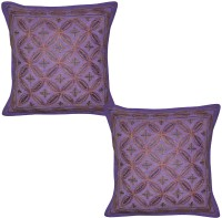 Lal Haveli Embroidered Cushions Cover (Pack Of 2, 41 Cm*41 Cm, Purple)