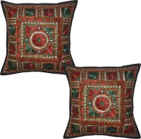 Lal Haveli Embroidered Cushions Cover (Pack Of 2, 41 Cm*41 Cm, Black)