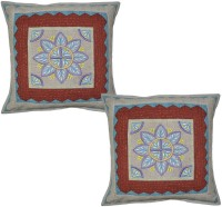 Lal Haveli Indian Handmade Colorful Thred Work Cotton 16x16 Inches Embroidered Cushions Cover (Pack Of 2, 41 Cm*41 Cm, Multicolor)