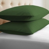 LNT Linen Solid Cushions, Pillows Cover (Pack Of 2, 43.2 Cm*69 Cm, Dark Green)