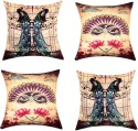 "SEJ By Nisha Gupta HD Digital Print Silk 16"" By 16"" Cushion Cover. Cushions Cover - Pack Of 4 - CPCDYVZ59P5HQAVH"