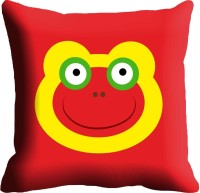 Holicshop Red Smiley Digitally Printed Cushions Cover (40.64 Cm*40.64 Cm, Multicolor)