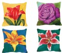 MeSleep Flowers Digitally Printed Cushions Cover - Pack Of 4