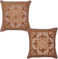 Lal Haveli Embroidered Cushions Cover (Pack Of 2, 41 Cm*41 Cm, Brown)