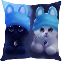 StyBuzz Cute Black And White Cat (12x12) Cushions Cover (Pack Of 1)