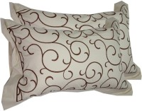 Milano Home Embroidered Pillows Cover Pack Of 2, 48 Cm*76 Cm, White, Brown