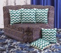 Dekor World Chevron Cushions Cover (Pack Of 5, 40 Cm*40 Cm, White, Green)
