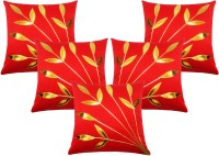 Zikrak Exim Leaves Patch Red With Filler Floral Cushions Cover (Cushion With Fillers, 40*40)